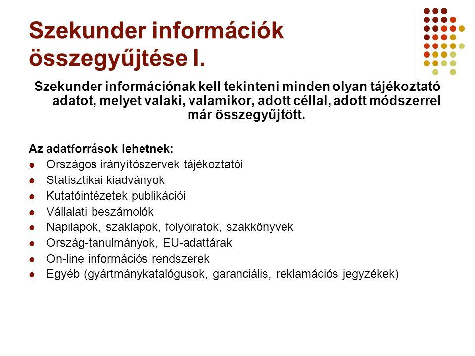 Szekunder információk összegyűjtése I.