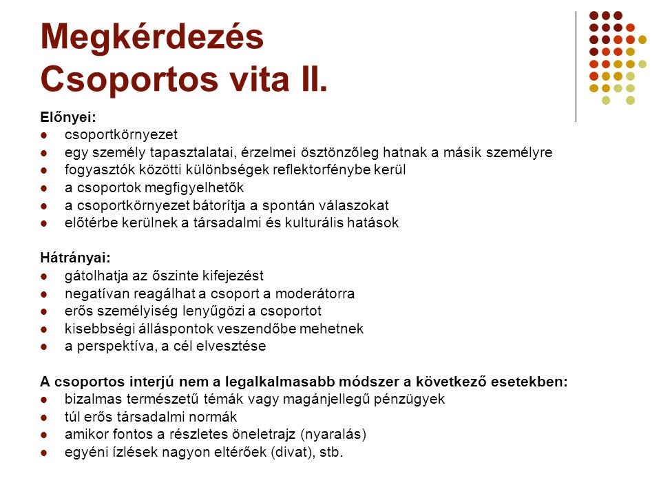 Megkérdezés Csoportos vita II.