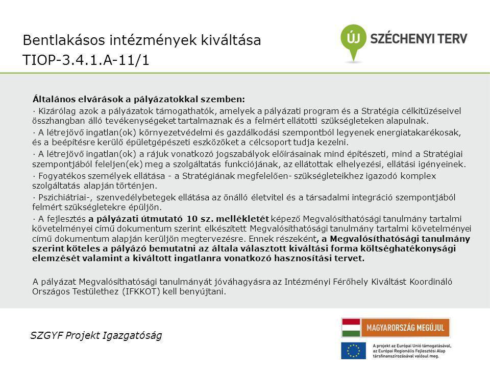 Bentlakásos intézmények kiváltása TIOP-3.4.1.A-11/1