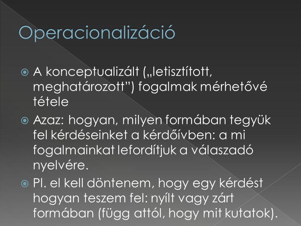 """Operacionalizáció A konceptualizált (""""letisztított, meghatározott ) fogalmak mérhetővé tétele."""
