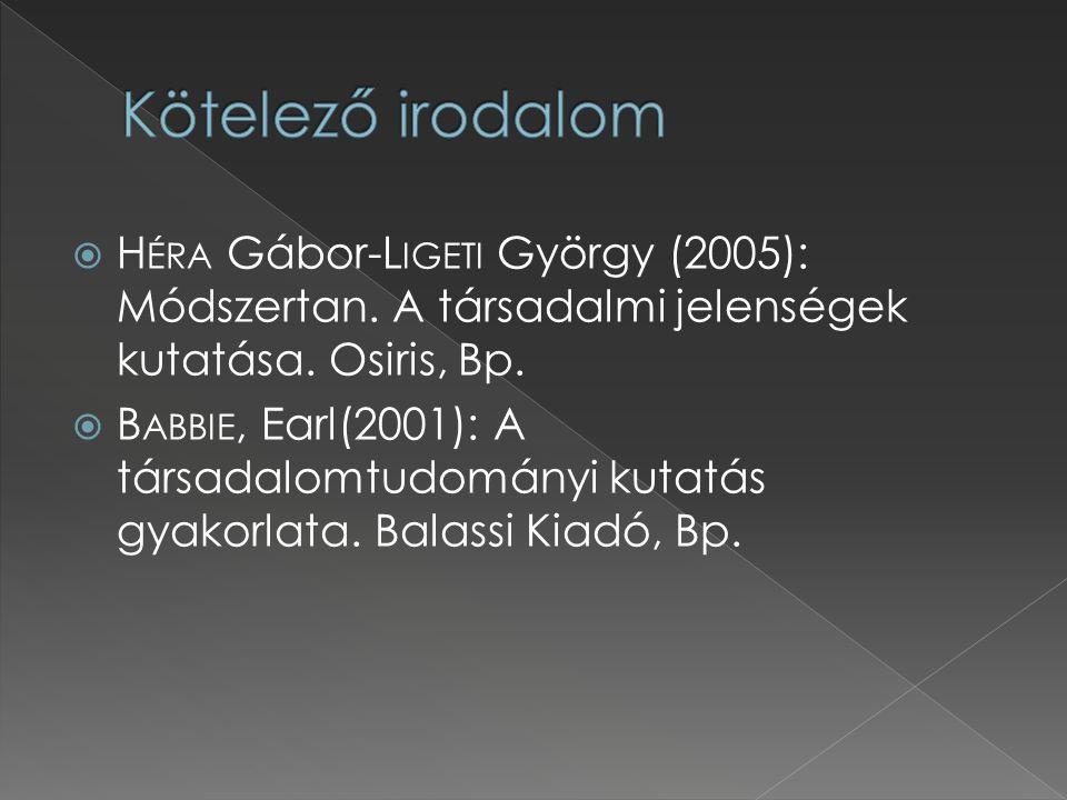 Kötelező irodalom Héra Gábor-Ligeti György (2005): Módszertan. A társadalmi jelenségek kutatása. Osiris, Bp.