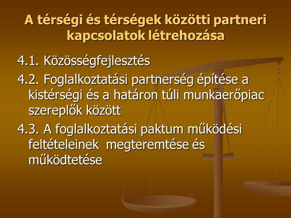 A térségi és térségek közötti partneri kapcsolatok létrehozása