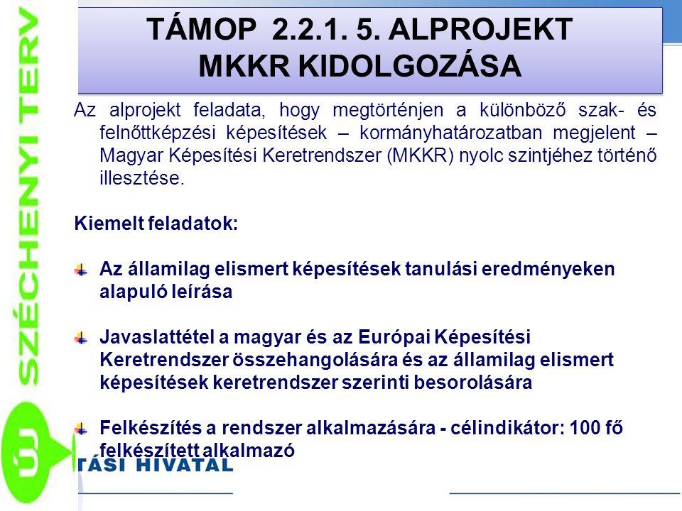 TÁMOP 2.2.1. 5. ALPROJEKT MKKR KIDOLGOZÁSA
