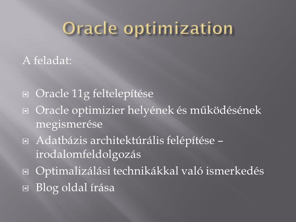 Oracle optimization A feladat: Oracle 11g feltelepítése