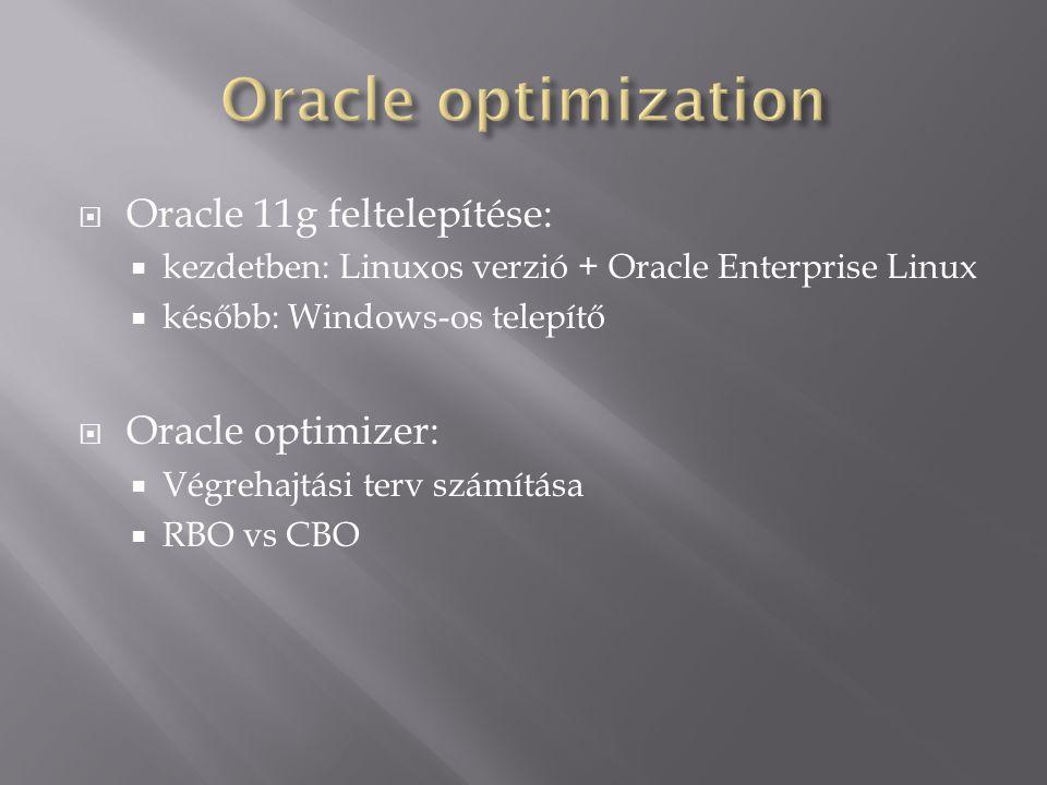 Oracle optimization Oracle 11g feltelepítése: Oracle optimizer: