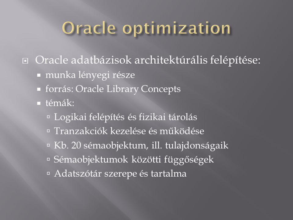Oracle optimization Oracle adatbázisok architektúrális felépítése:
