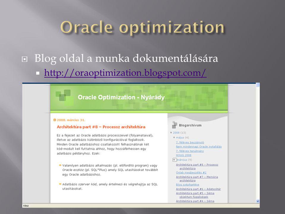 Oracle optimization Blog oldal a munka dokumentálására