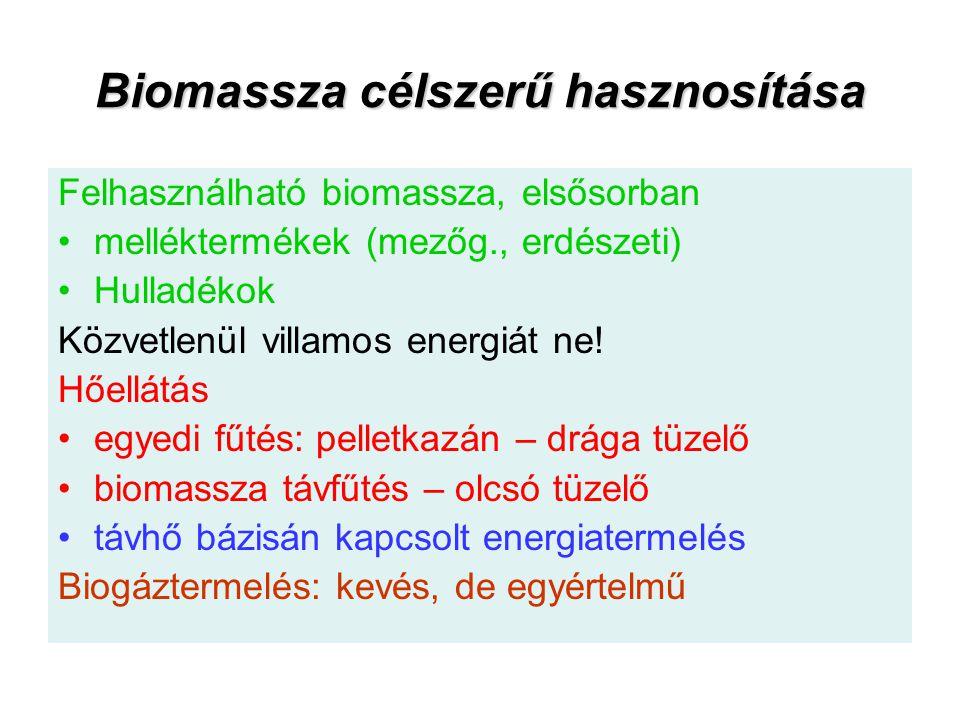 Biomassza célszerű hasznosítása