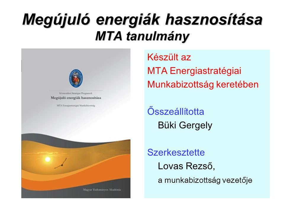 Megújuló energiák hasznosítása MTA tanulmány