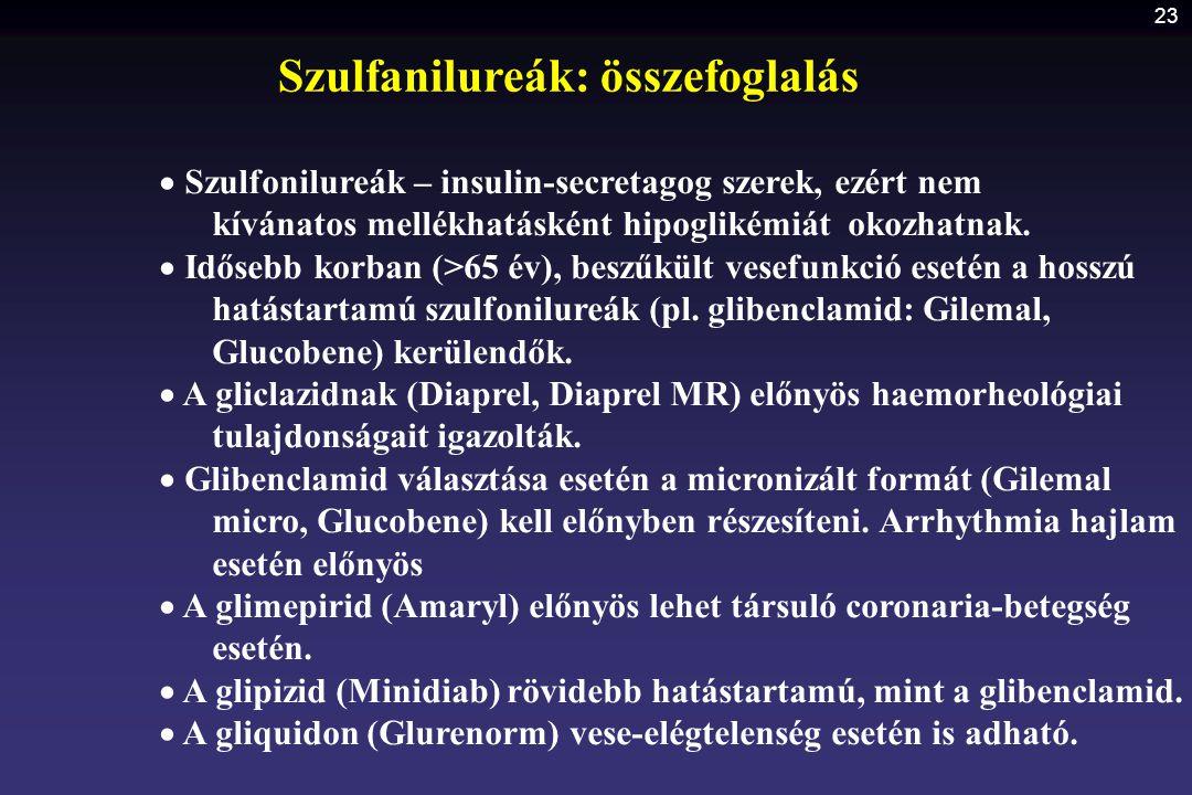 Szulfanilureák: összefoglalás