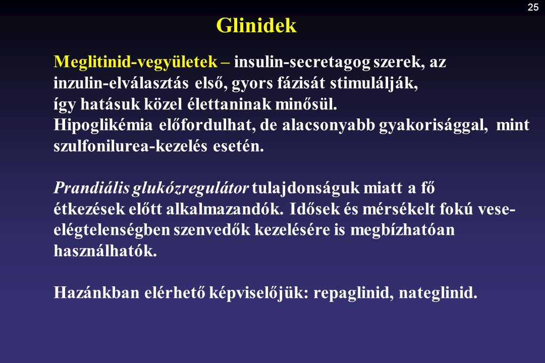 Glinidek Meglitinid-vegyületek – insulin-secretagog szerek, az