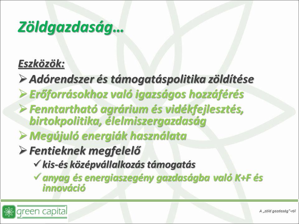 Zöldgazdaság… Eszközök:
