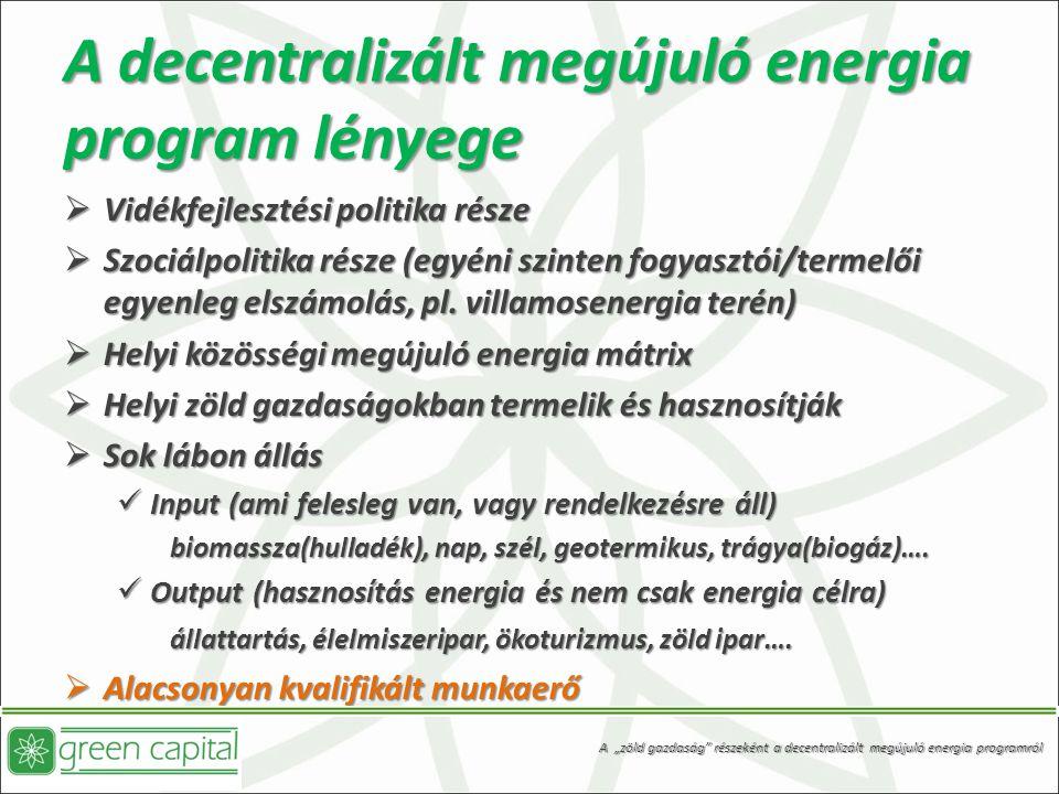 A decentralizált megújuló energia program lényege