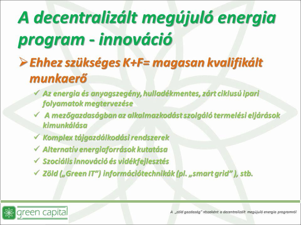 A decentralizált megújuló energia program - innováció