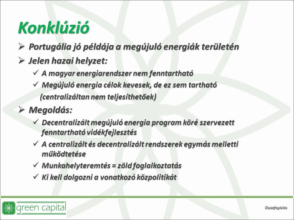 Konklúzió Portugália jó példája a megújuló energiák területén