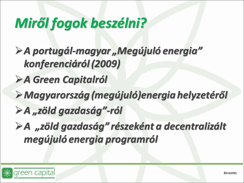 """Miről fogok beszélni A portugál-magyar """"Megújuló energia konferenciáról (2009) A Green Capitalról."""
