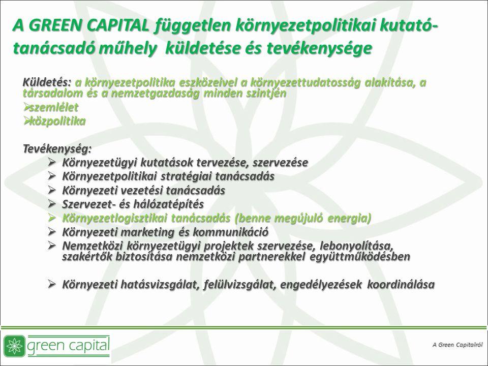 A GREEN CAPITAL független környezetpolitikai kutató-tanácsadó műhely küldetése és tevékenysége