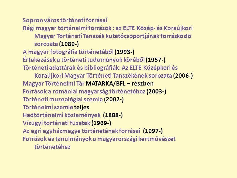 Sopron város történeti forrásai