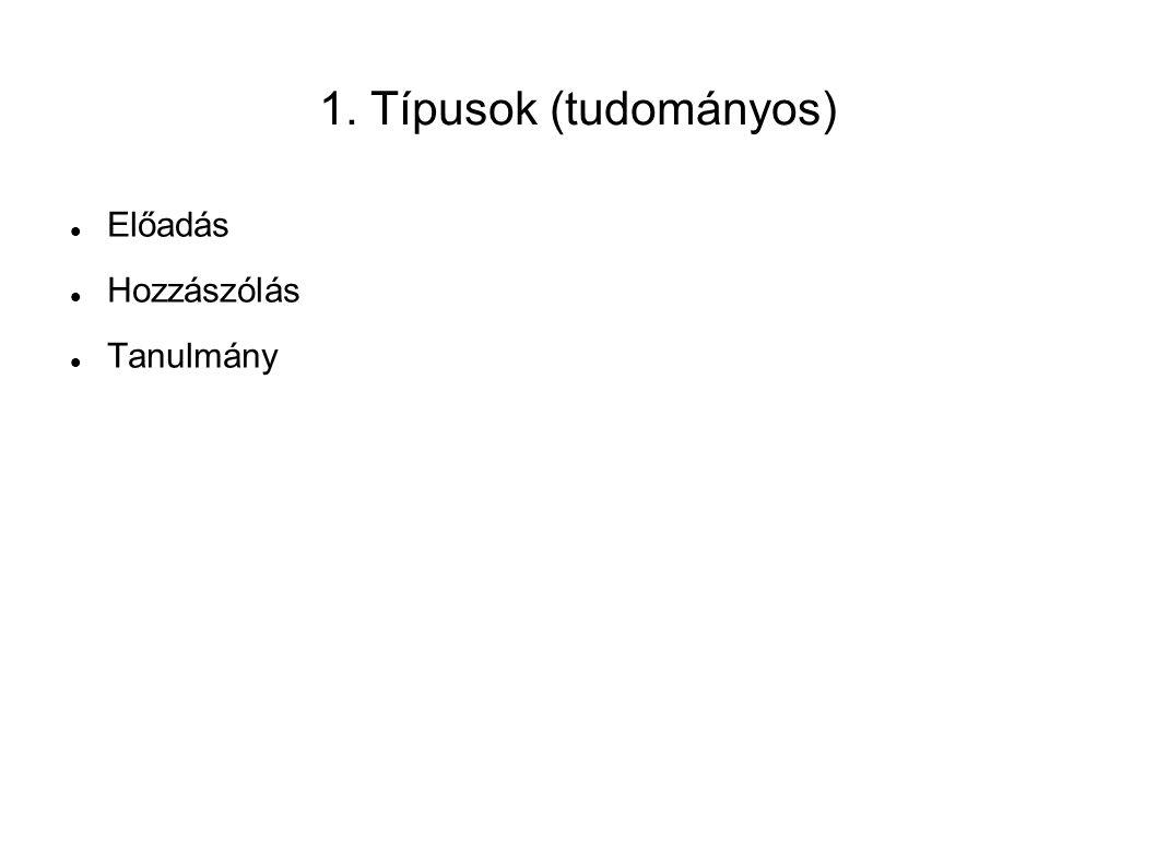 1. Típusok (tudományos) Előadás Hozzászólás Tanulmány