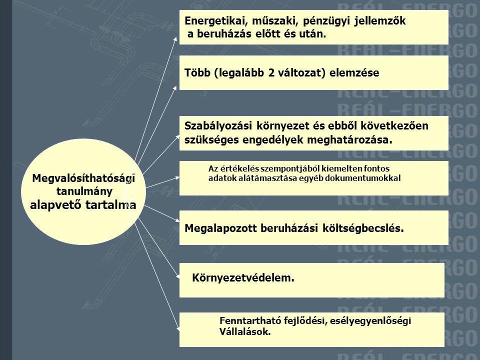 alapvető tartalma Energetikai, műszaki, pénzügyi jellemzők