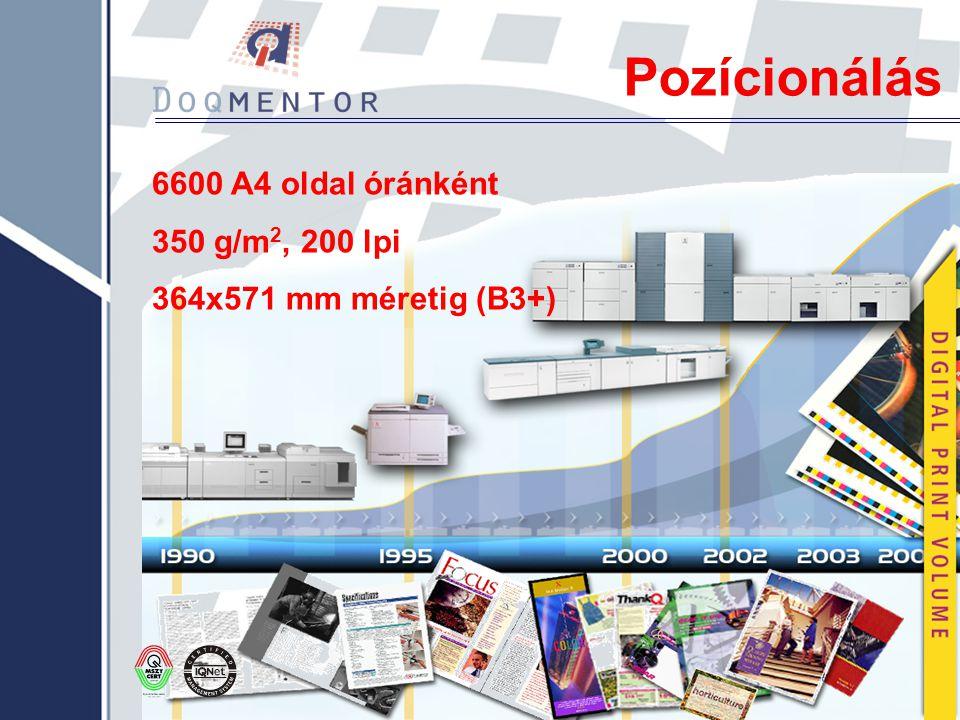 Pozícionálás 6600 A4 oldal óránként 350 g/m2, 200 lpi