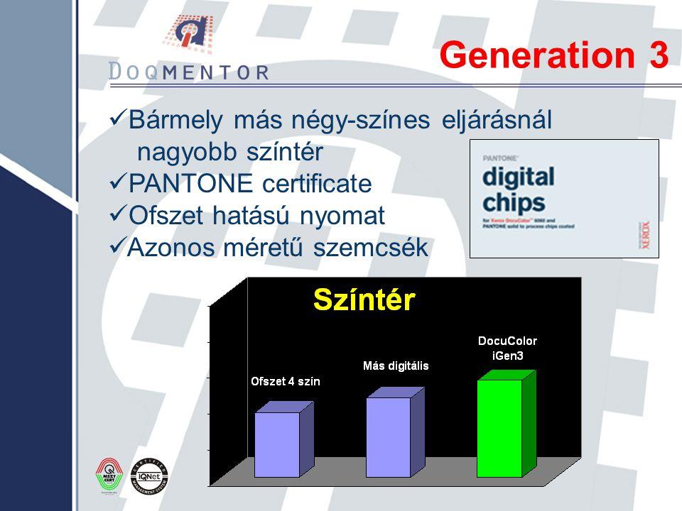 Generation 3 Bármely más négy-színes eljárásnál nagyobb színtér