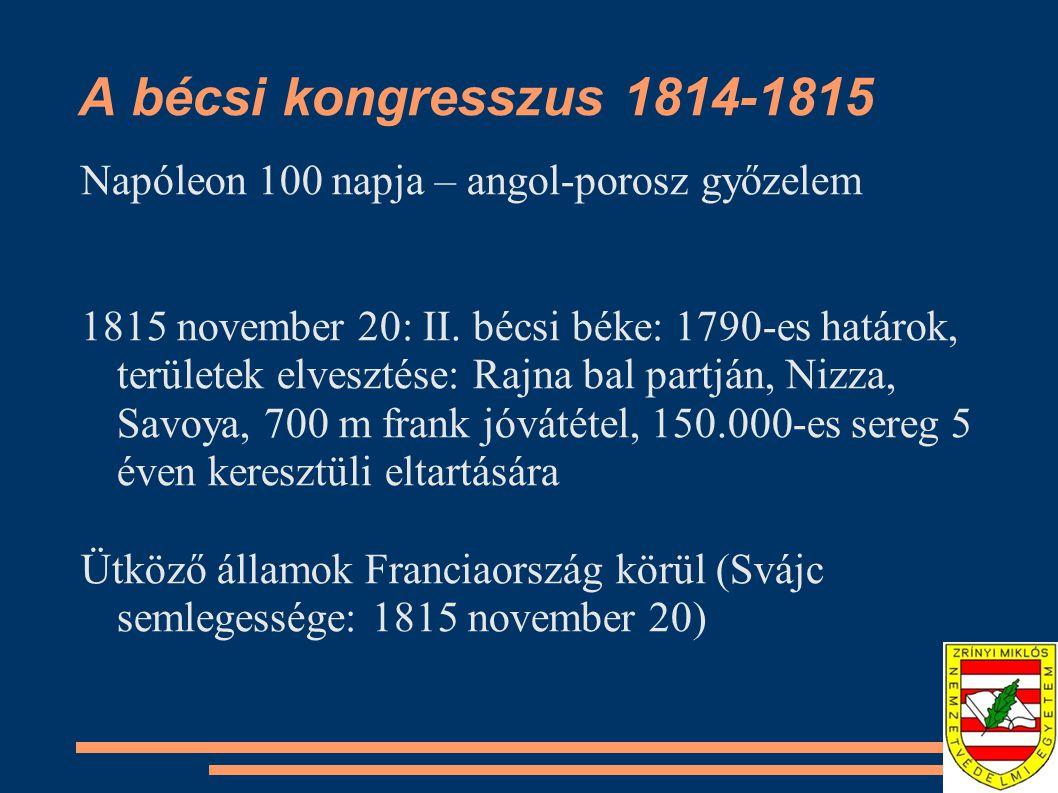 A bécsi kongresszus 1814-1815 Napóleon 100 napja – angol-porosz győzelem.