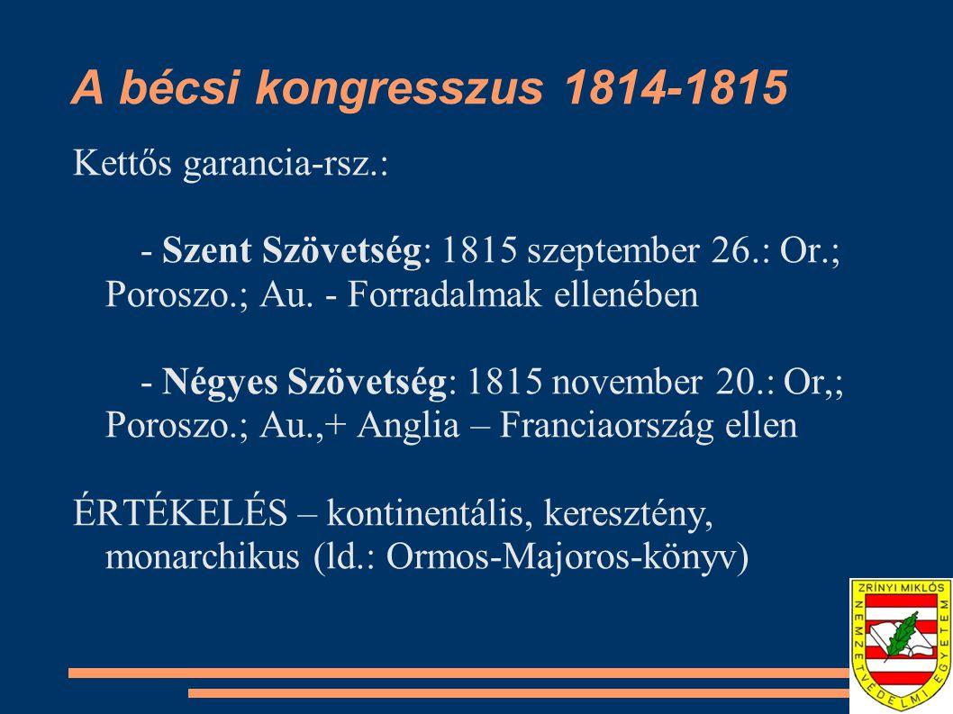 A bécsi kongresszus 1814-1815 Kettős garancia-rsz.: