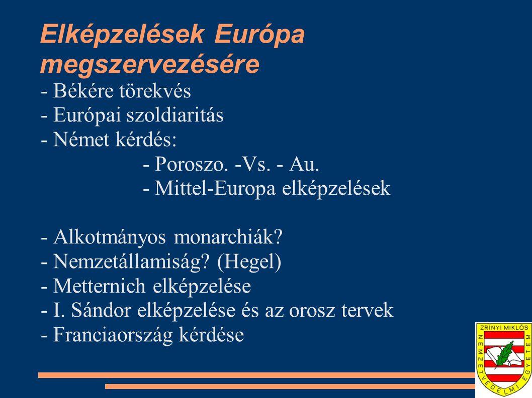 Elképzelések Európa megszervezésére