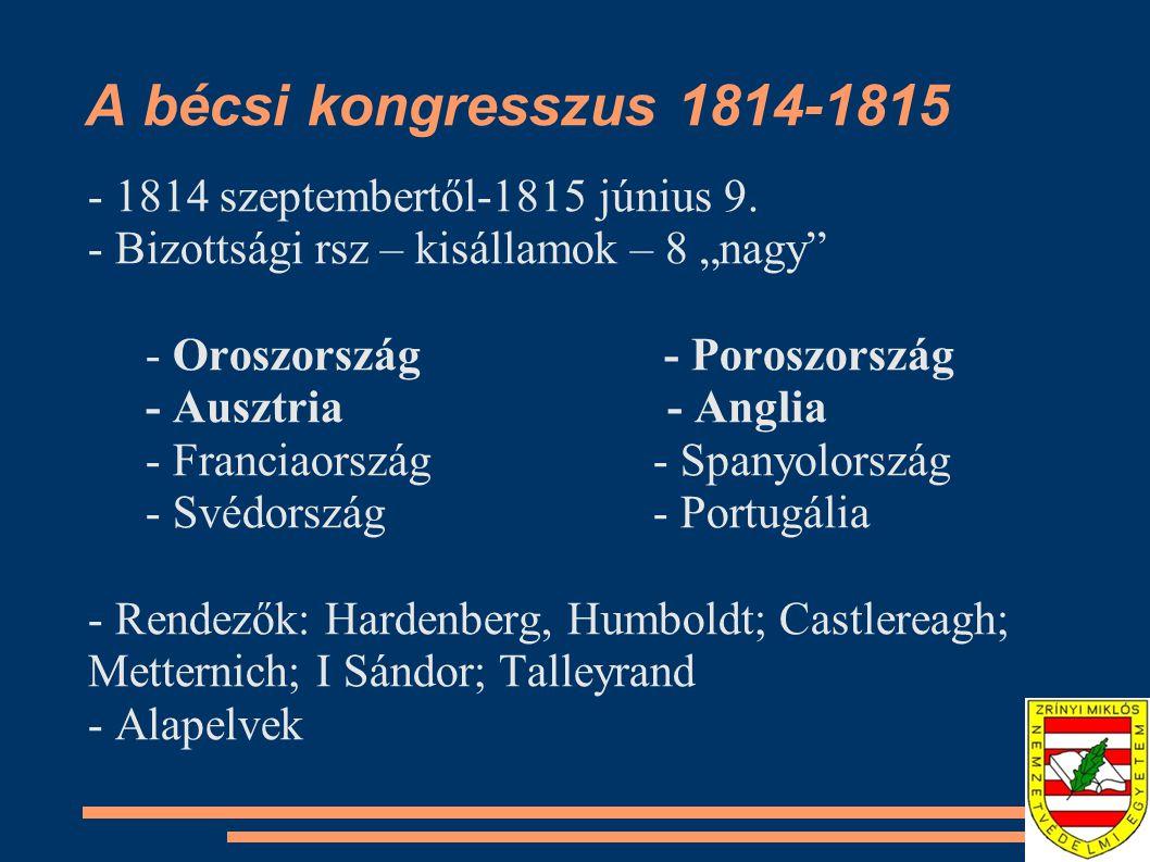 A bécsi kongresszus 1814-1815 - 1814 szeptembertől-1815 június 9.