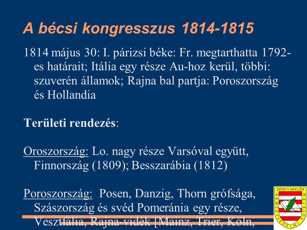 A bécsi kongresszus 1814-1815
