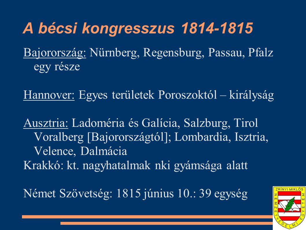 A bécsi kongresszus 1814-1815 Bajorország: Nürnberg, Regensburg, Passau, Pfalz egy része. Hannover: Egyes területek Poroszoktól – királyság.