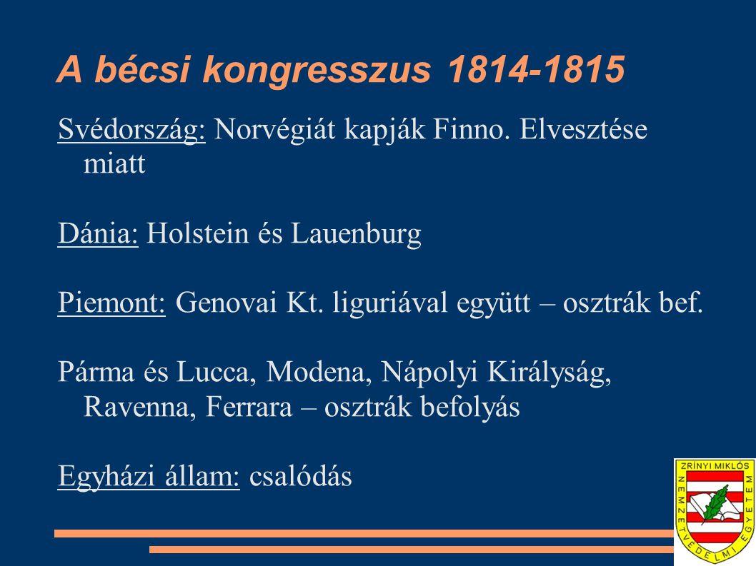 A bécsi kongresszus 1814-1815 Svédország: Norvégiát kapják Finno. Elvesztése miatt. Dánia: Holstein és Lauenburg.
