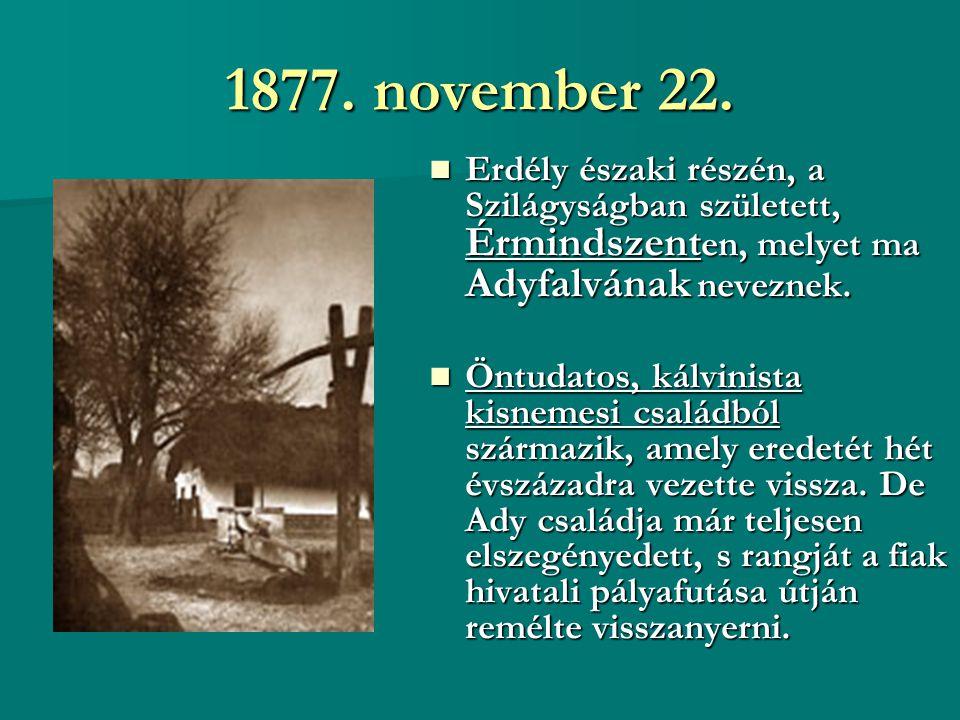 1877. november 22. Erdély északi részén, a Szilágyságban született, Érmindszenten, melyet ma Adyfalvának neveznek.