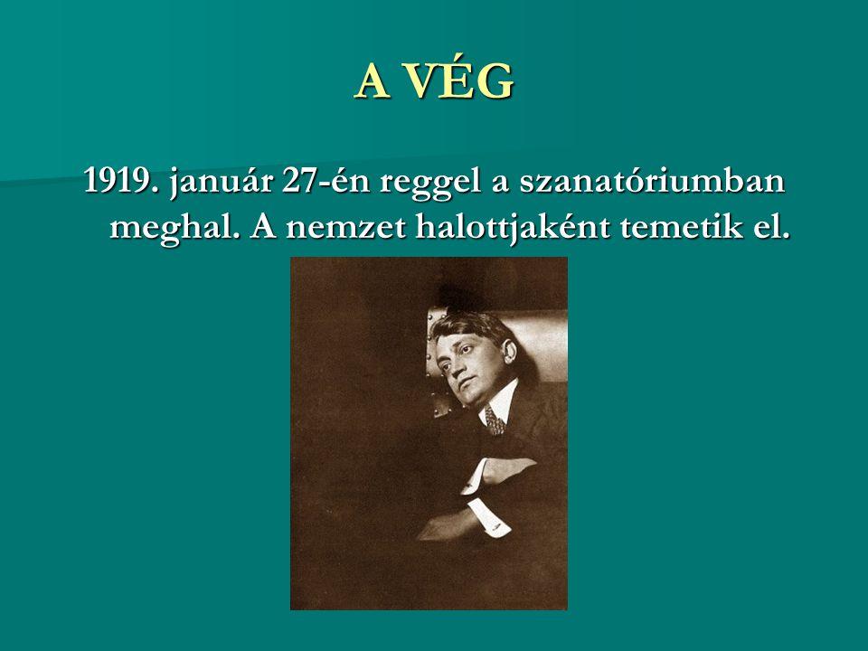 A VÉG 1919. január 27-én reggel a szanatóriumban meghal. A nemzet halottjaként temetik el.