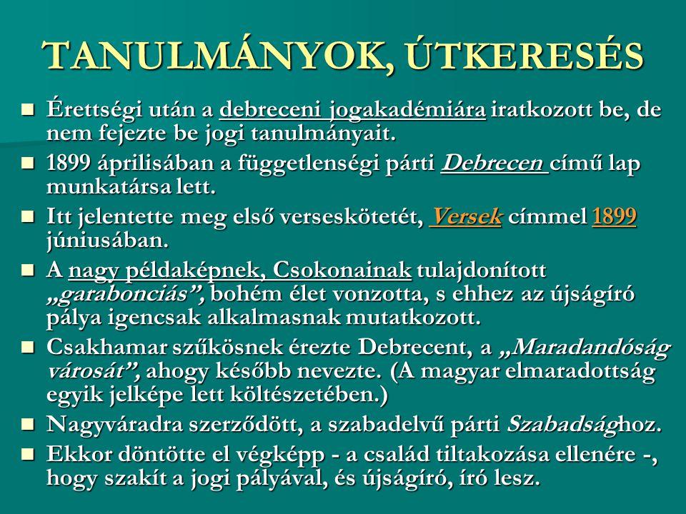 TANULMÁNYOK, ÚTKERESÉS
