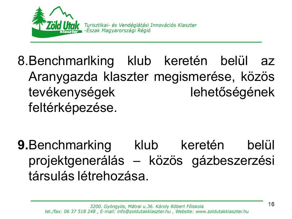 8.Benchmarlking klub keretén belül az Aranygazda klaszter megismerése, közös tevékenységek lehetőségének feltérképezése.
