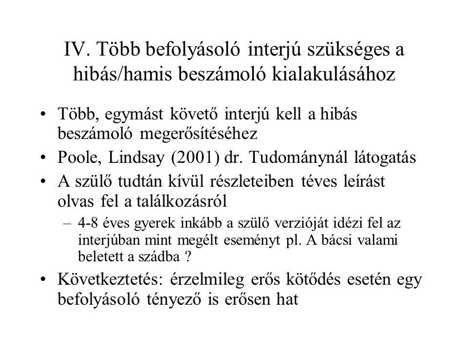IV. Több befolyásoló interjú szükséges a hibás/hamis beszámoló kialakulásához