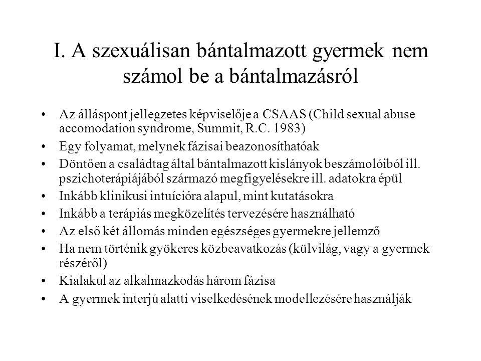 I. A szexuálisan bántalmazott gyermek nem számol be a bántalmazásról