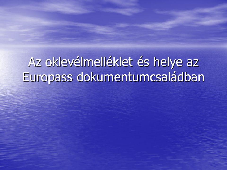 Az oklevélmelléklet és helye az Europass dokumentumcsaládban