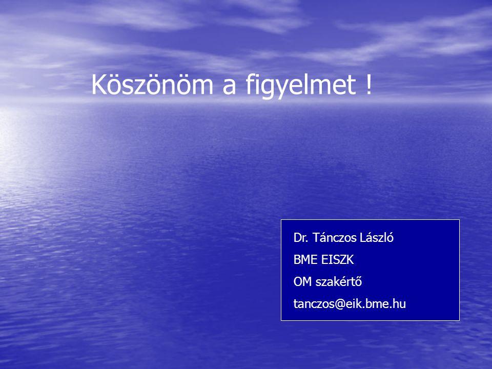 Köszönöm a figyelmet ! Dr. Tánczos László BME EISZK OM szakértő
