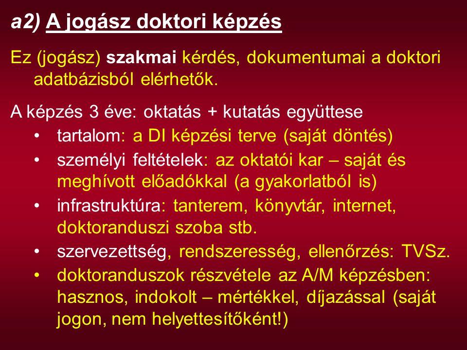 a2) A jogász doktori képzés