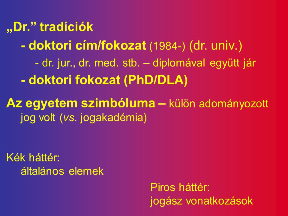- doktori cím/fokozat (1984-) (dr. univ.) - doktori fokozat (PhD/DLA)