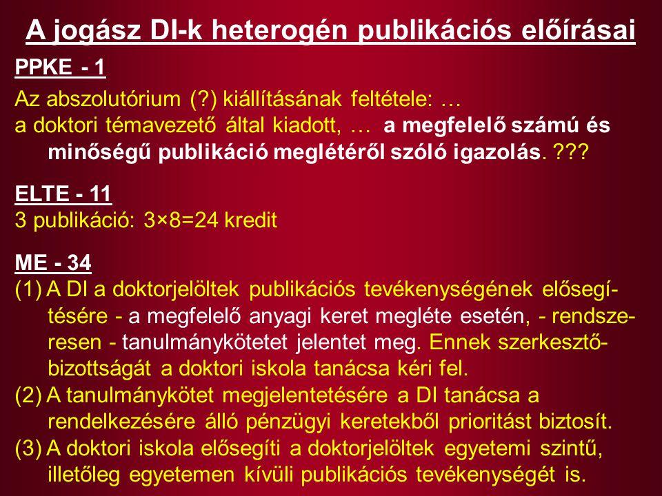 A jogász DI-k heterogén publikációs előírásai