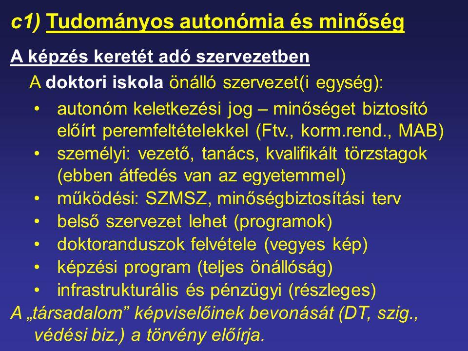 c1) Tudományos autonómia és minőség