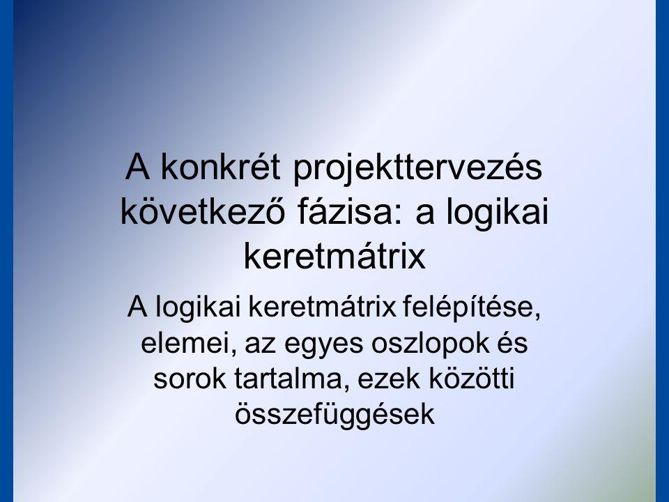 A konkrét projekttervezés következő fázisa: a logikai keretmátrix