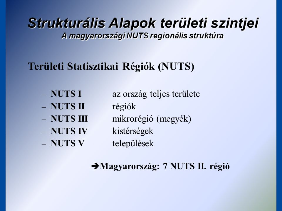 Strukturális Alapok területi szintjei