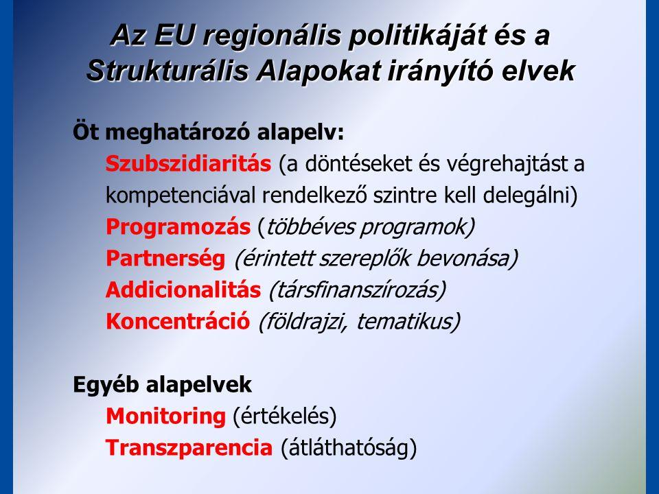 Az EU regionális politikáját és a Strukturális Alapokat irányító elvek