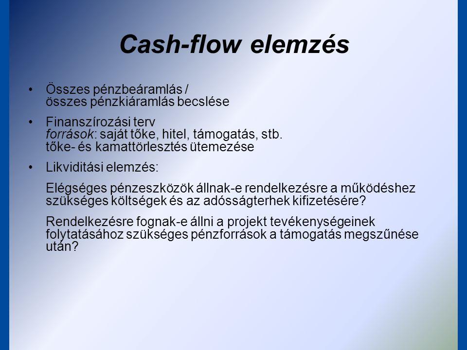 Cash-flow elemzés Összes pénzbeáramlás / összes pénzkiáramlás becslése