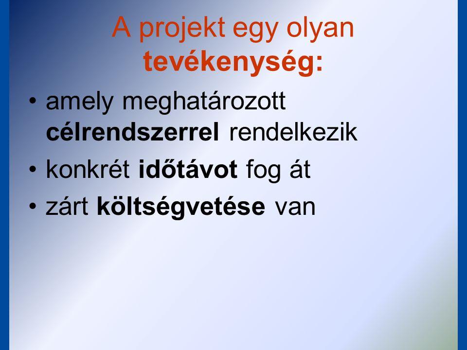 A projekt egy olyan tevékenység: